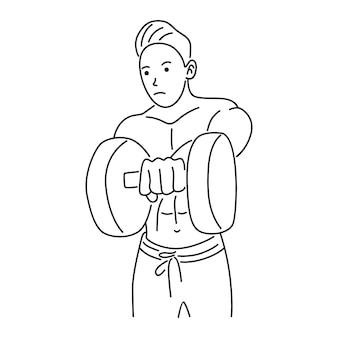 Рука, бицепс, сильная рука, держащая гантель