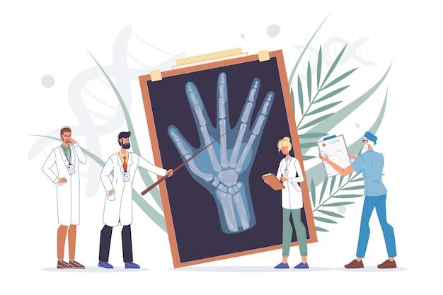 Осмотр руки руки. диагностика травм или артритов запястья, лечение. врач, бригада медсестер исследуют рентгеновское изображение. медицинская консультация. ортопедия, травматология и медицина ревматологии.