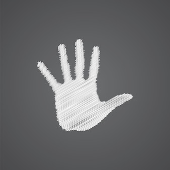 Arm sketch logo doodle icon isolated on dark background