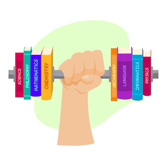 Arm with a raised barbell with stacks of books