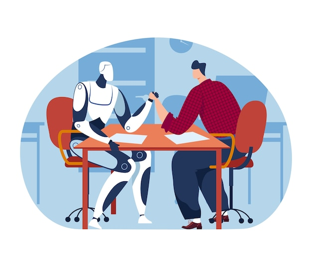 Arm wrestling with technology machine, man human and future science robot artificial intelligence competition, illustration.