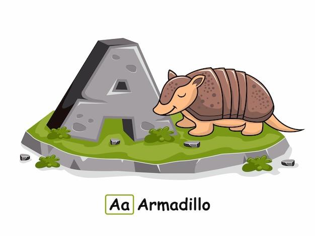 アルマジロ動物アルファベットロックストーン