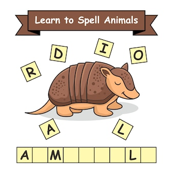 Armadillo learn to spell animals preschool