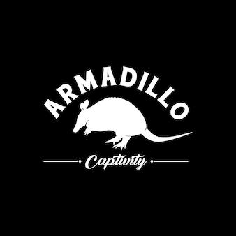 아르마딜로 실루엣 로고 보호 동물 아르마딜로 포로