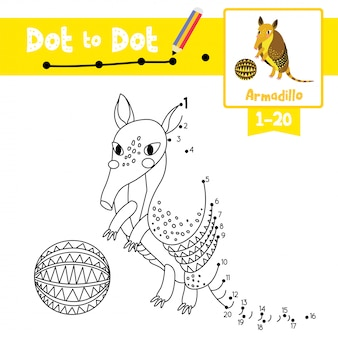 Armadillo with ball dot to dot game and coloring book