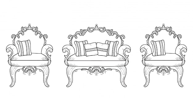 Мебель для кресла и комода с роскошными украшениями