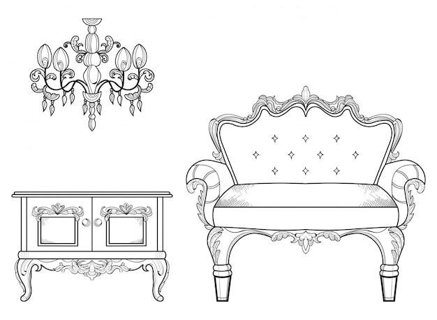 Кресло и туалетный столик с роскошными украшениями. векторные французский роскошный богатый сложной структуры. викторианский королевский стиль