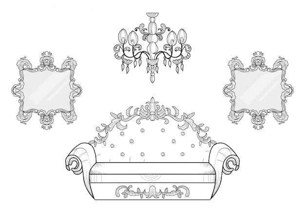 고급스러운 장식품이 달린 안락 의자 및 거울 프레임. 벡터 프랑스어 럭셔리 풍부한 복잡한 구조. 빅토리아 왕실 장식