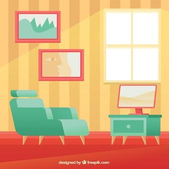 アームチェアと家のインテリアのテレビ