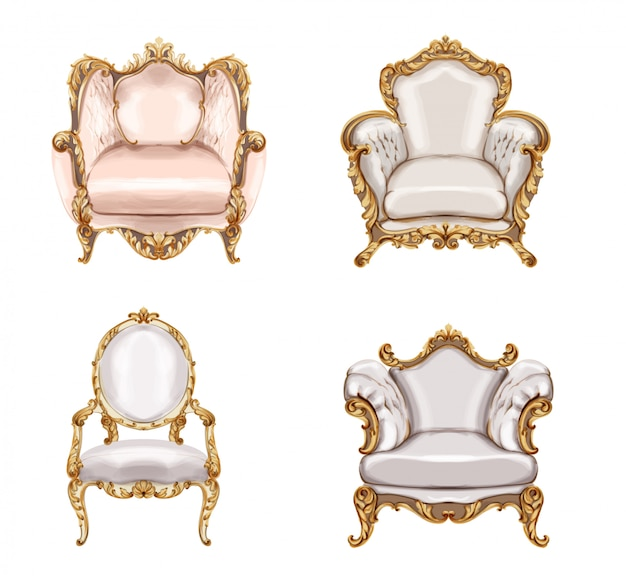 Armchair gold ornamented collection watercolor