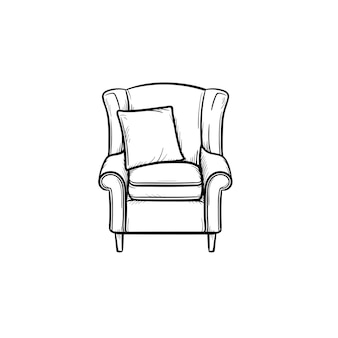 Armchair hand drawn outline doodle icon. soft armchair with cushion vector sketch illustration for print, web, mobile and infographics isolated on white background.
