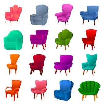 Armchair icon set, cartoon style