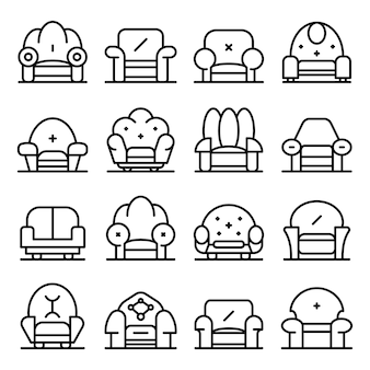 Armchair icons set, outline style