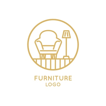 Armchair and lamp furniture business company logo
