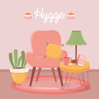 Armchair tabe with lamp coffee cup and plant, cartoon hygge style illustration