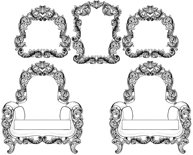 Armchair and vintage frames set collection vector. baroque furniture and accessories. graphic line art