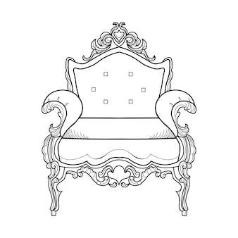 Кресло с роскошными украшениями. векторные французский роскошный богатый сложной структуры. викторианский королевский стиль