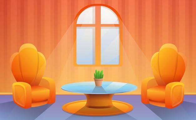 漫画の部屋でテレビが付いている肘掛け椅子。ベクトルイラスト