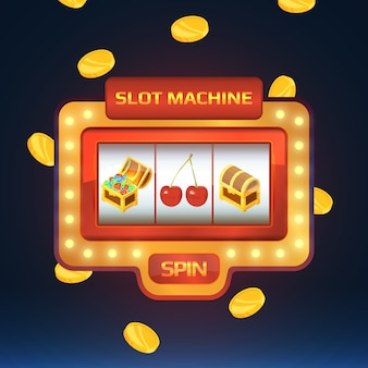 Armed bandit, game machine in casino with different isolated pictures