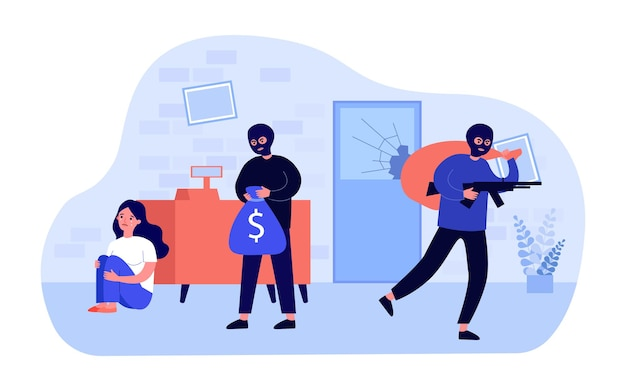 Armed criminals in masks stealing money from bank. scared employee behind counter, robbers with bags flat vector illustration. bank robbery, security concept for banner, website design or landing page