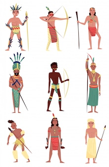 Armed native people set, american indian, african tribe member, australian aboriginal characters  illustrations on a white background