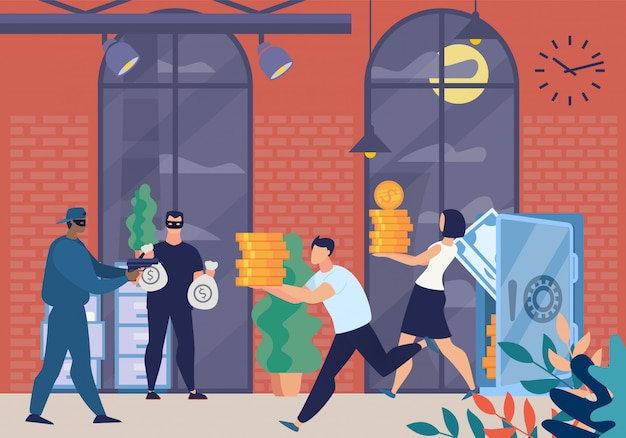 Вооруженные грабители в масках персонажи заставляют банк Premium векторы