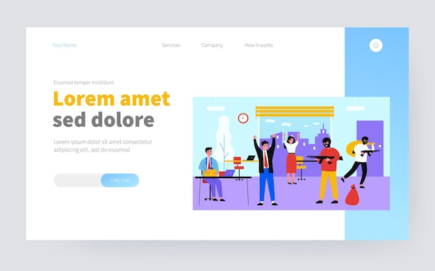 Armed robbers taking hostages and robbing office. criminals in balaclavas aiming guns, carrying bags flat vector illustration. robbery, crime concept for banner, website design or landing web page