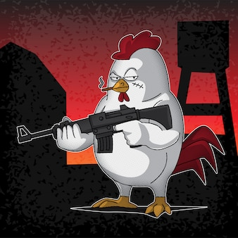 Armed rooster cartoon illustration