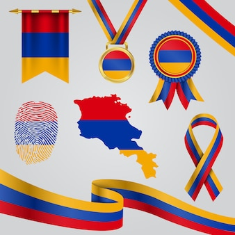 Armenia flag in different shapes with map & pennant & medal & ribbon & fingerprint