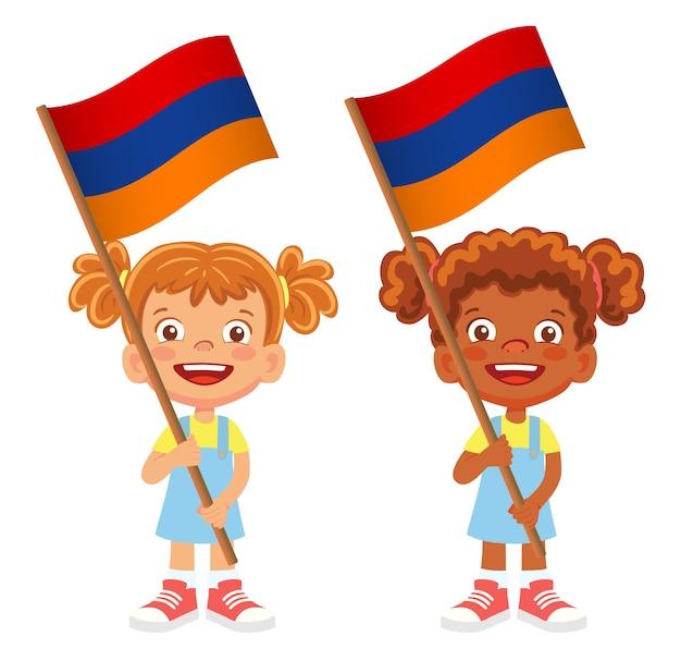 Флаг армении в руке. дети держат флаг. государственный флаг армении вектор