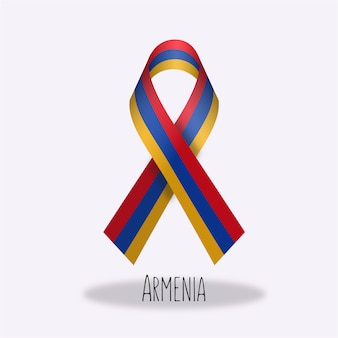 Armenia flag ribbon design