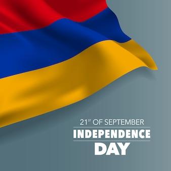 Armenia happy independence day greeting card, banner, horizontal vector illustration. armenian holiday 21st of september design element with flag with curves
