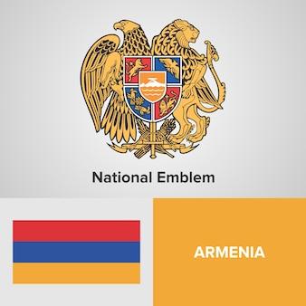 Armenia map flag and national emblem