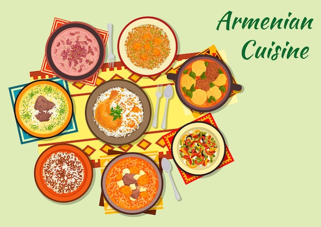 Armenian cuisine clipart with dumpling soup, baked chicken stuffed with rice and dried fruit, beef soup with dried apricot