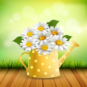 Armful of daisy realistic composition