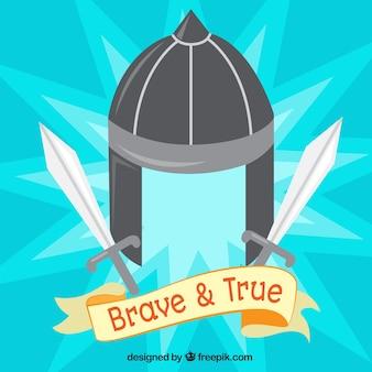 Бронированный шлем и мечи