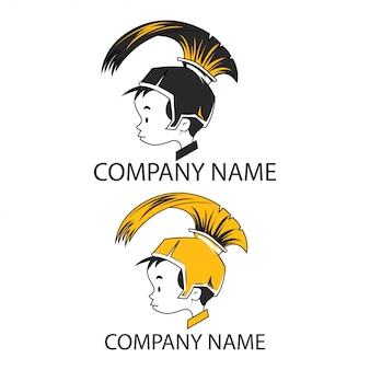 Симпатичный воин или рыцарь armor kid logo