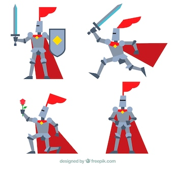 Armor knight set in different positions in flat design
