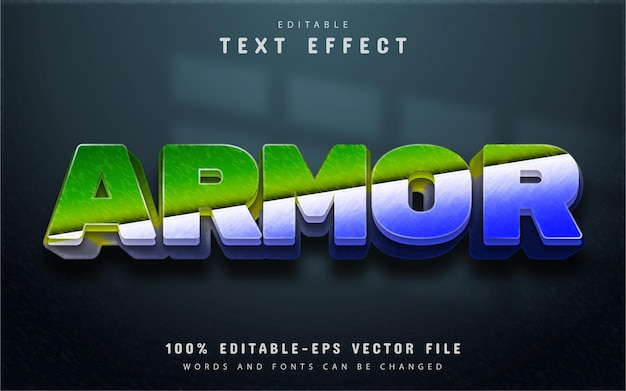 Armor text effect with gradient