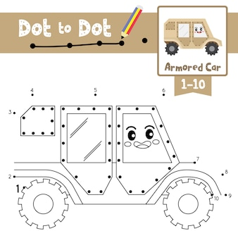 Armored car dot to dot game and coloring book