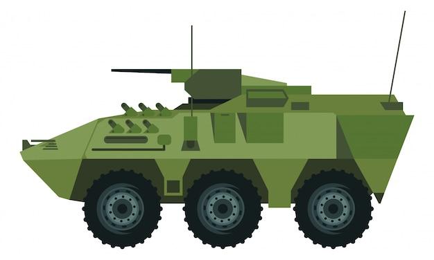 ミサイルと多くの種類の大砲を持つ装甲車