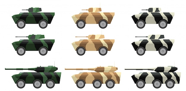 Armored personnel carrier and self-propelled guns.