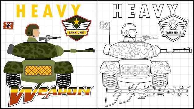 Armored vehicle cartoon with heavy gun