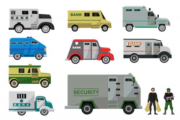 Armored vehicle vector bank cash van transport car illustration armor transportation set of truck with money security people character man in bulletproof isolated icon set