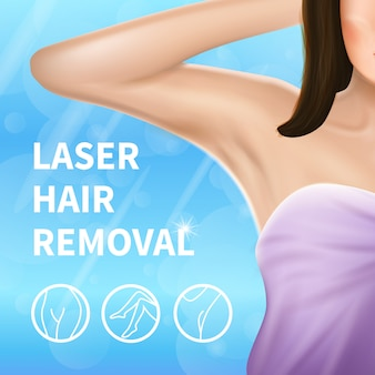 Armpit epilation, laser hair removal procedure banner