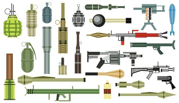 무기 수류탄 세트. 군사 무기. 유탄 발사기 절연