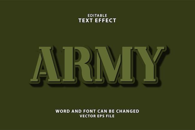 Редактируемый текстовый эффект армии 3d eps