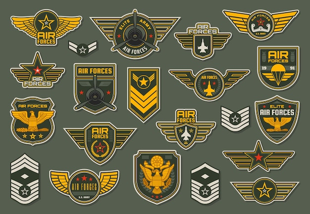 Army air forces, airborne units badges and winged chevrons