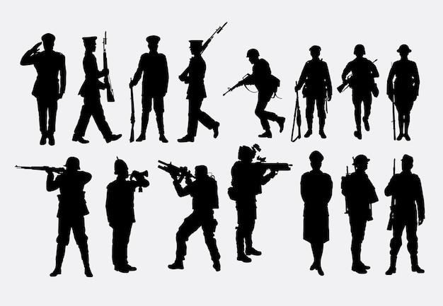 陸軍と警察のシルエット