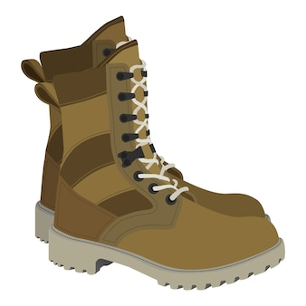 Army boots illustration in cartoon flat style